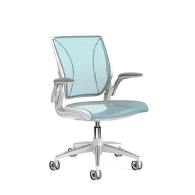 Pinstripe Mesh Blue World Task Chair, Adjustable Arms, White Frame,Pool Blue,hi-res